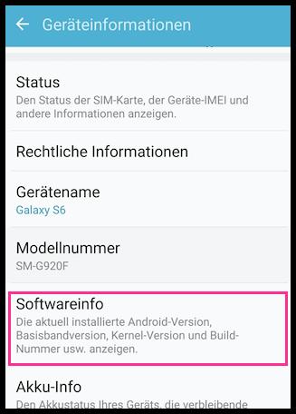 Samsung Galaxy Softwareinfo