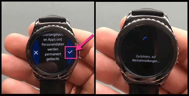 Samsung Gear S2 Uhr wurde zurueckgesetzt
