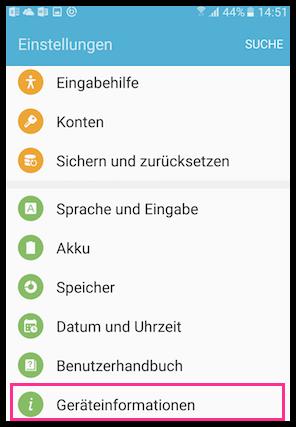 Samsung Geraeteinformationen
