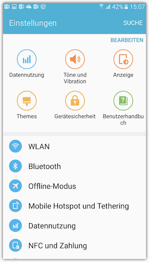 Samsung Smartphone Einstellungen Settings