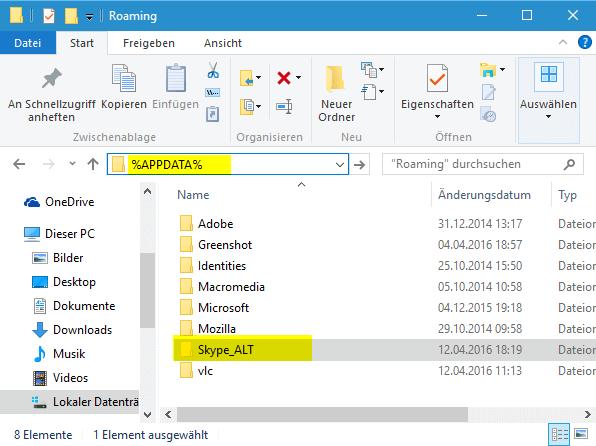 Skype Ordner unter Windows 10 umbennen