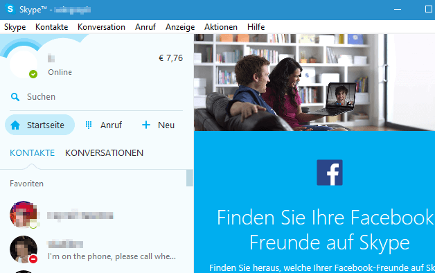Skype unter Windows 10