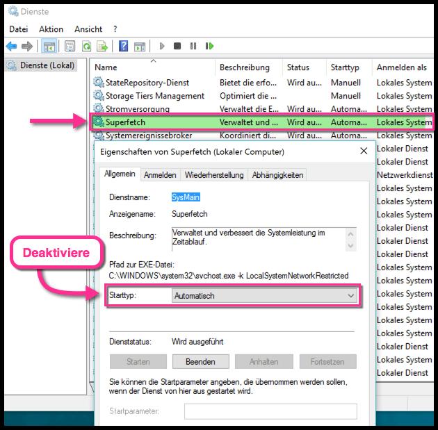 Superfetch deaktivieren oder aktivieren in Windows 10