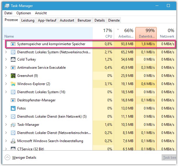 Systemspeicher und Komprimierter Speicher in Windows 10 Task-Manager