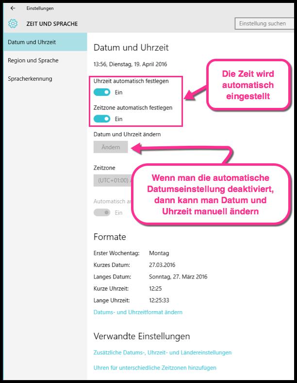 Windows 10 Datum und Uhrzeit automatisch und Manuell aendern