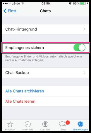 iPhone WhatsApp Empfangene Bilder Sichern oder nicht