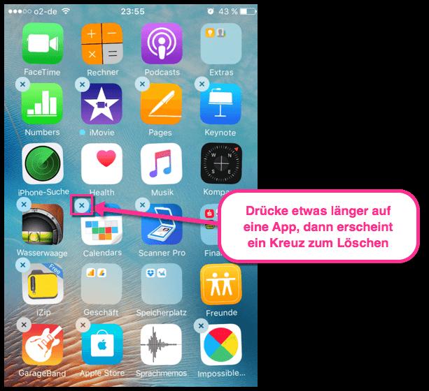 iPhone iPad Apps loeschen durch druecken