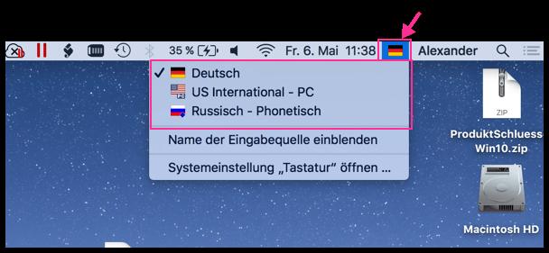 Mac OS X Zwischen Sprachen Wechseln Menueleiste