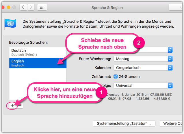Sprache und Region in Mac OS X aendern