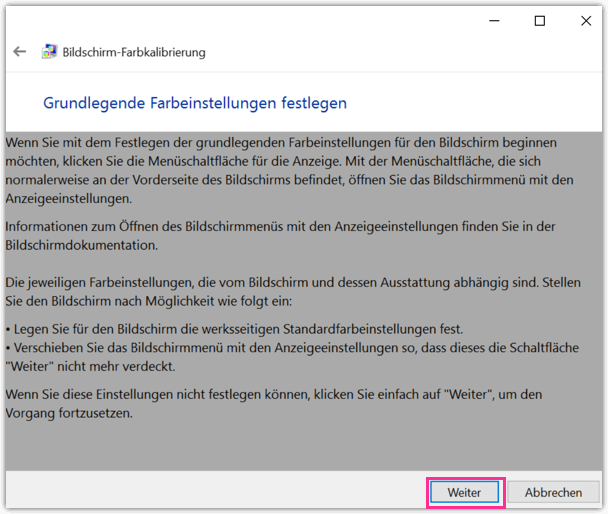 Windows 10 Bildschirm-Farbkalibrierung Schritt 2