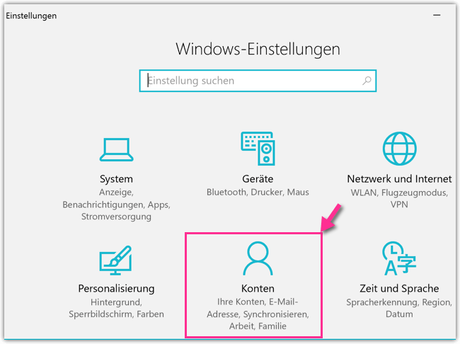 Windows 10 Einstellungen Konten
