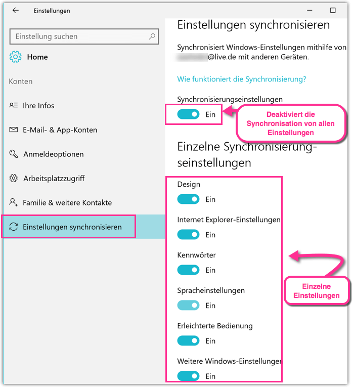 Windows 10 Einstellungen Synchronisieren