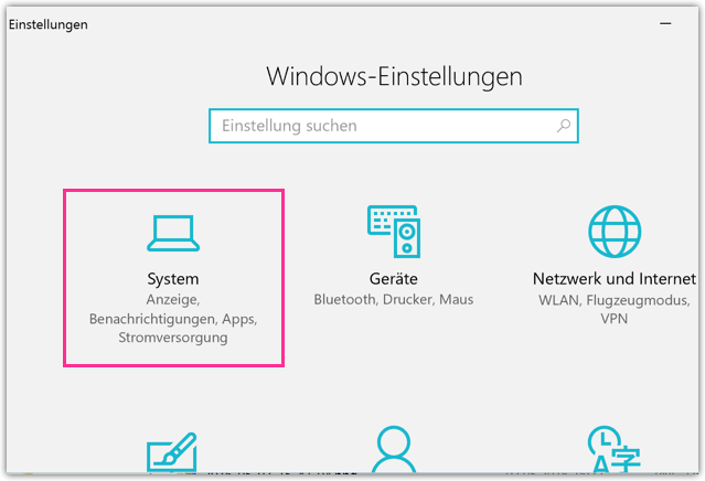 Windows 10 Einstellungen System neu