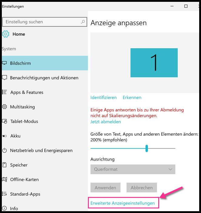 Windows 10 Erweiterte Anzeigeeinstellungen