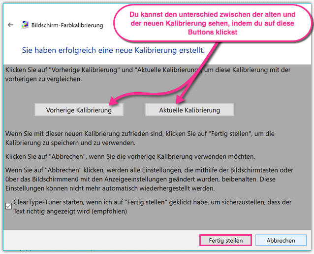 Windows 10 Farbkalibrierung abschliessen