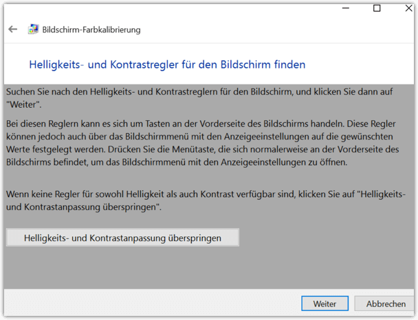 Windows 10 Helligkeits-Kalibrierung