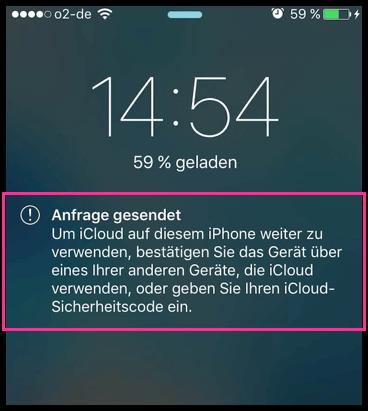 iPhone iCloud Anfrage gesendet