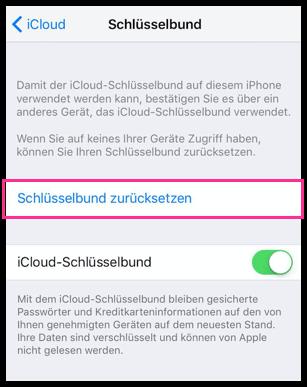 iPhone iPad iCloud Schluesselbund zuruecksetzen
