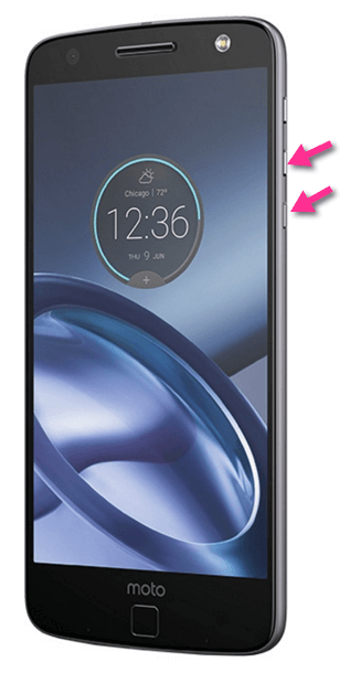 Motorola Moto Z Screenshot-Tasten