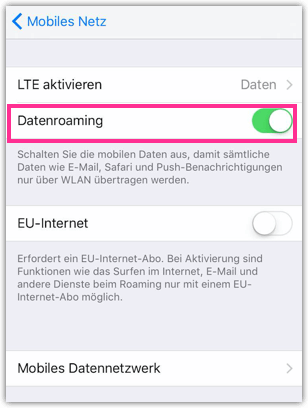 iPhone Datenroaming