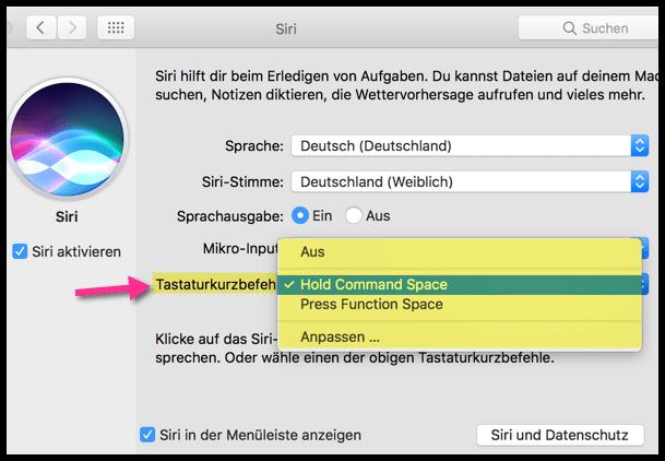 macOS Mac OS X Siri Tastaturkurzbefehl Shortcut aendern