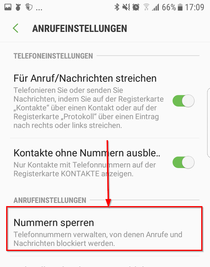 Android Sperrliste